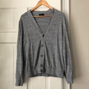 GAP men's heather gray button cardigan like new
